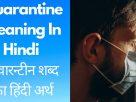 Quarantine meaning in hindi